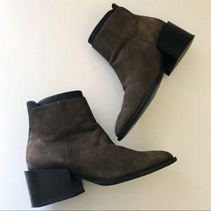 Vince Vero Cuoio Black Brown Square Heel Boots 8.5